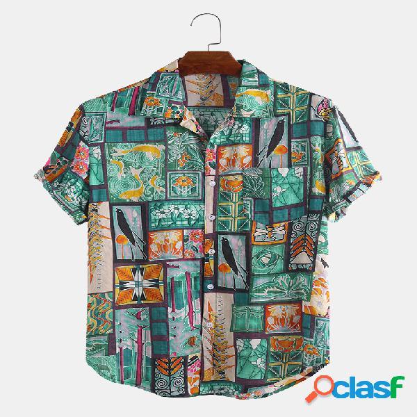 Algodão étnico masculino impresso engraçado manga curta solta casual camisa