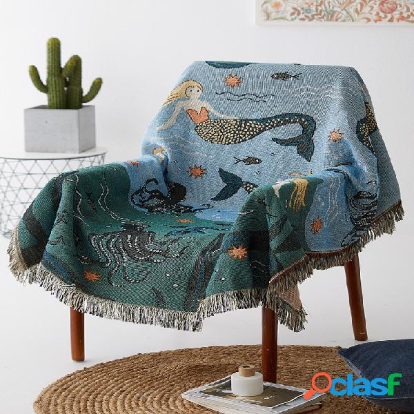 Capa de sofá com mistura de algodão estampado de sereia azul original design capa anti-poeira tapeçaria doméstica decoração artística