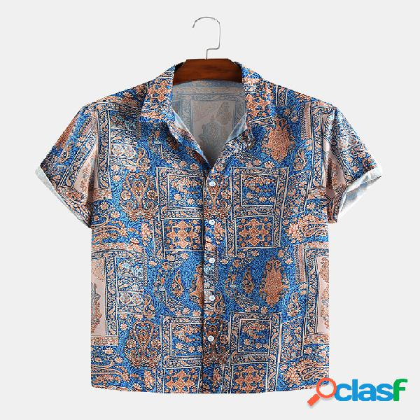 Impressão em estilo étnico abstrato masculino verão manga curta casual solta camisa