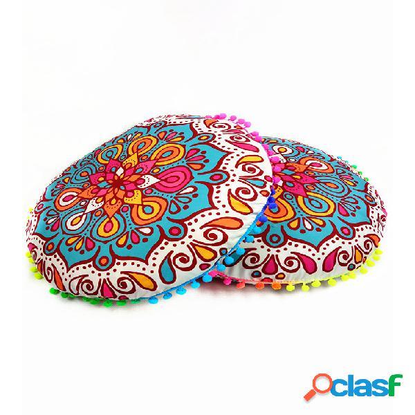 Mandala floral boêmia com gradiente redondo capa de almofada de assento para sofá em casa e decoração com arte