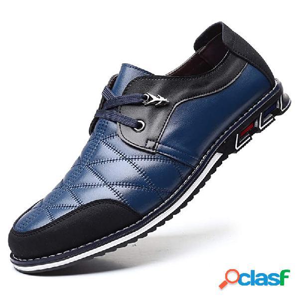 Couro xadrez masculino de tamanho grande soft sapatos casuais confortáveis com cordões