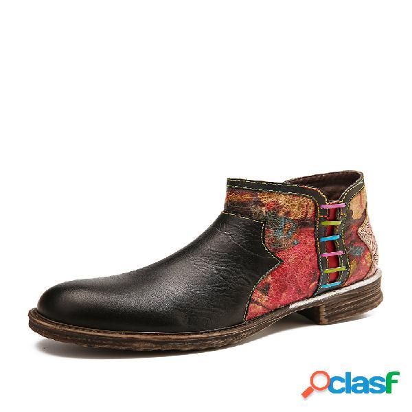 Socofy emenda de textura aquarela retro couro genuíno botas de salto baixo com zíper