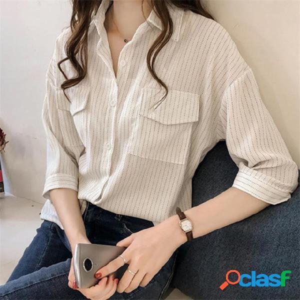 Han fan de mangas curtas com listras soltas camisa chique estilo hong kong camisa maré feminina