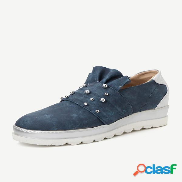 Plus tamanho mulheres casual rodada toe metal slip on loafers plataforma