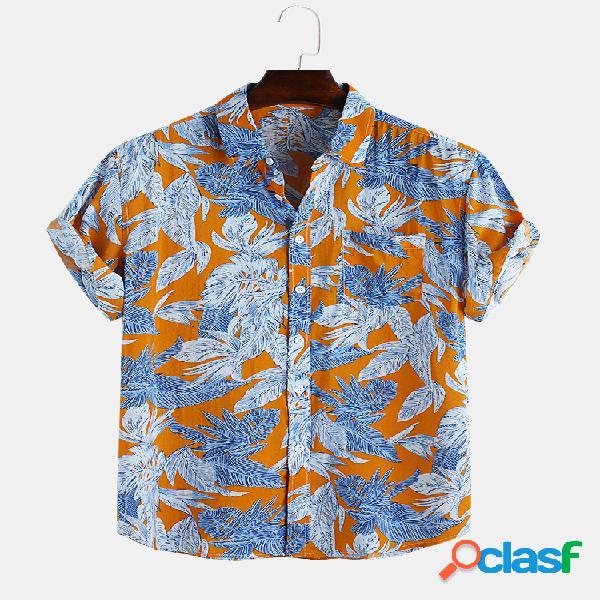 Camisetas masculinas com estampa floral no peito, manga curta, camisas soltas casuais