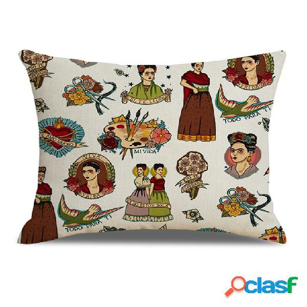 Desenho vintage espanhol beleza impressa em linho capa de almofada arte decoração sofá doméstico fronhas