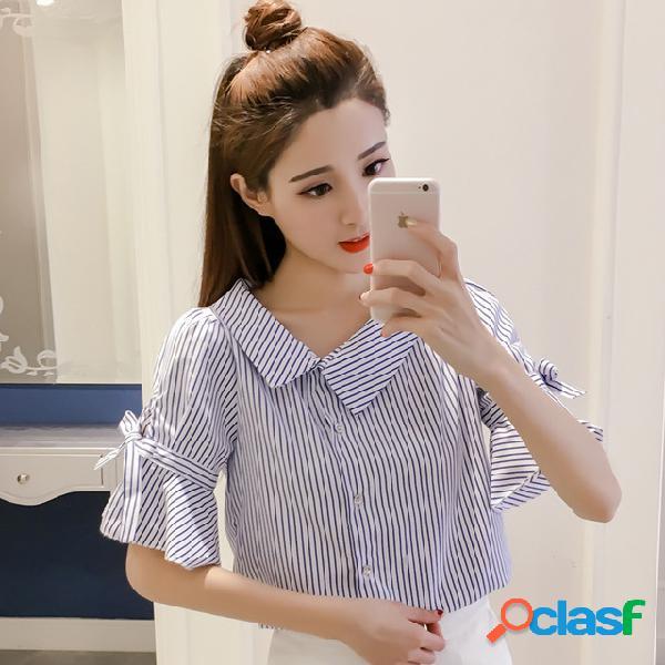 Irregular camisa com decote em v mulheres nova listrada fina trompete manga curta camisa de manga