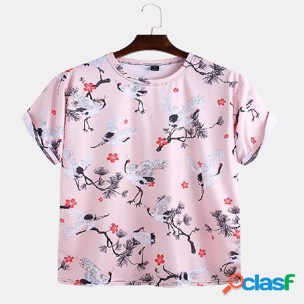 Mens engraçado dos desenhos animados printting em torno do pescoço de manga curta solta camisetas