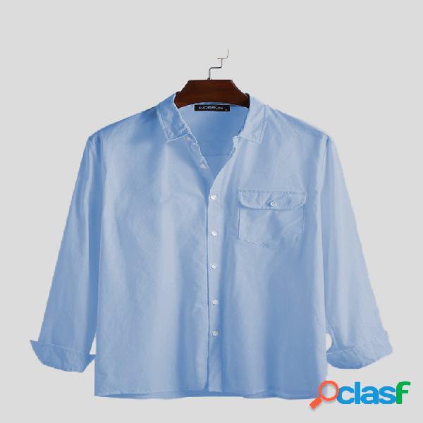 Mens solid color cotton pocket respirável casual camisas de manga comprida