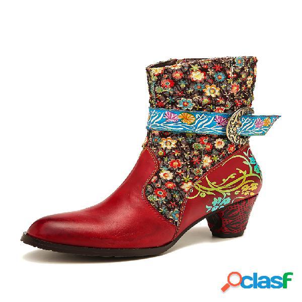 Socofy retro flower padrão costura couro genuíno botas de metal com zíper e salto alto na panturrilha