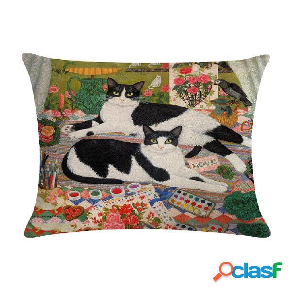 Capa de almofada de algodão com estampa de gato vintage para sofá em casa decoração de sofá para escritório e fronhas