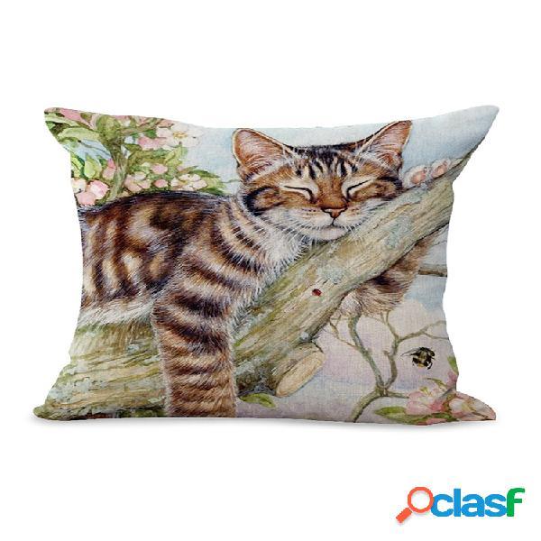 Capa de almofada de linho de linho para bebê estilo floral estilo impressão a óleo decoração de arte para sofá doméstico capa de almofada