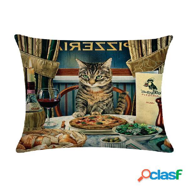 Capa de almofada de linho estampada de gato persa em estilo vintage para casa sofá arte decoração de escritório capa de almofada