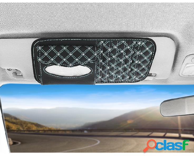 Dois em one cd board carro viseira de sol multi-purpose paper bolsa material de couro de armazenamento de carro bolsa pala de sol