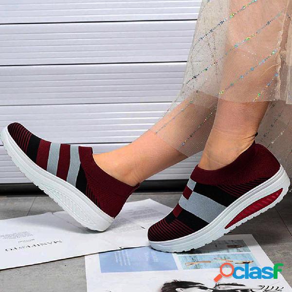 Mulheres casual sock shoes cor de malha respirável tênis de plataforma de emenda