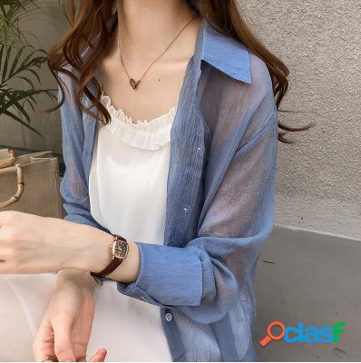Tamanho grande cor sólida camisa feminino manga comprida camisa solta seção fina protetor solar camisa maré
