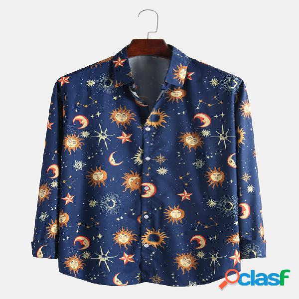 Homem engraçado desenho animado sun star moon imagem respirável casual camisas de manga comprida