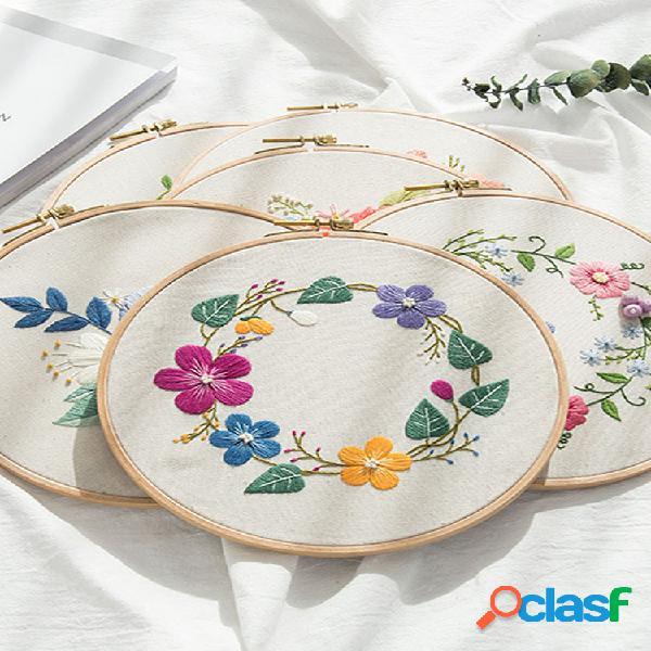 Kit de bordado diy com estampa de flores kit de tecido de linho kit feito à mão kits de costura para iniciantes