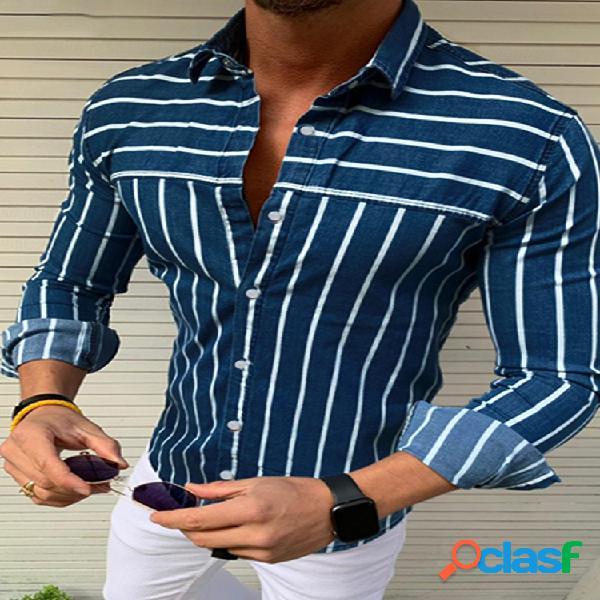 Mens brief style stripe casual respirável camisas de manga comprida