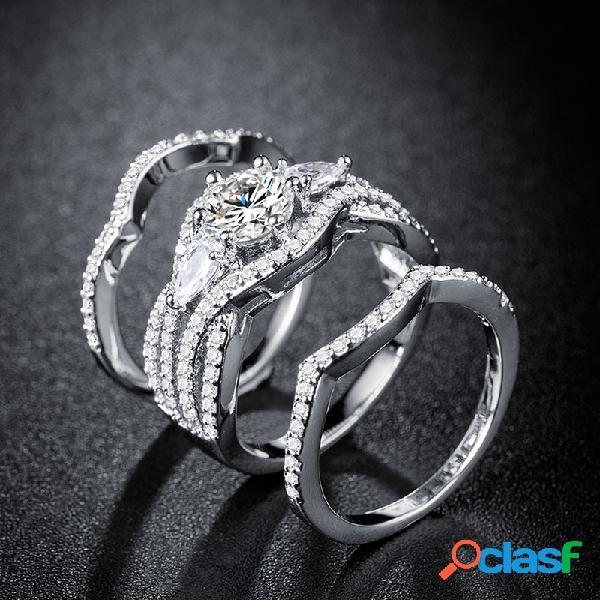 Onda na moda strass zircão anel set geométrica banhado a ouro diamante casal anel