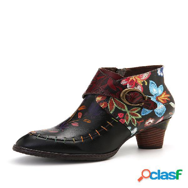 Socofy colorful costura de flores pintadas couro genuíno botas elegantes para tornozelo