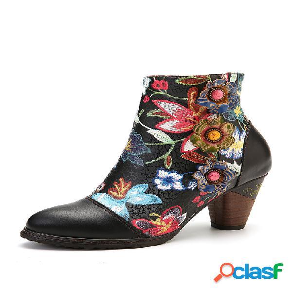 Socofy colorful floral couro genuíno botas elegantes de salto alto