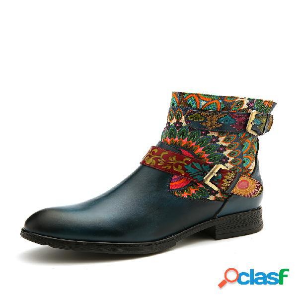 Socofy fivela de metal padrão couro genuíno botas rasteiras confortáveis