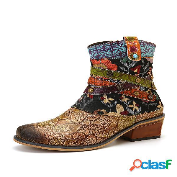 Socofy retro impresso padrão couro genuíno botas rasteiras confortáveis