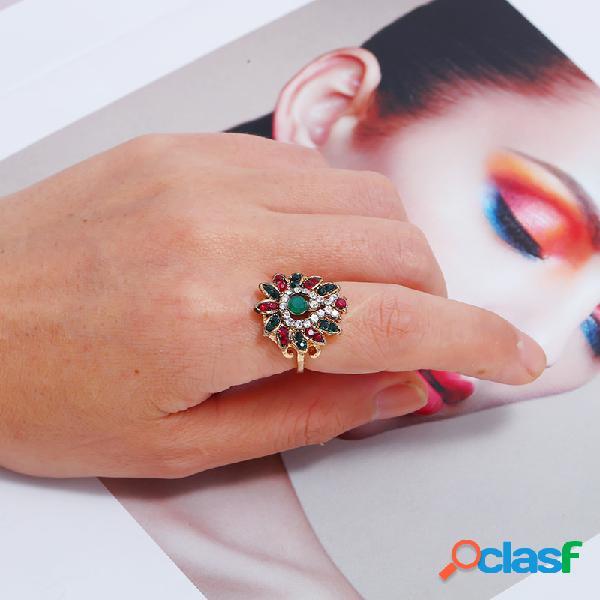 Vintage geométrica sol flor oco strass anel de metal turquesa anel de dedo indicador