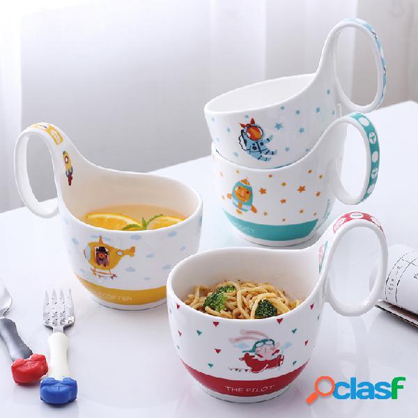 Copo animal cósmico tigela cerâmico caneca de leite de café dos desenhos animados bonito café da manhã copo de aveia presente das crianças