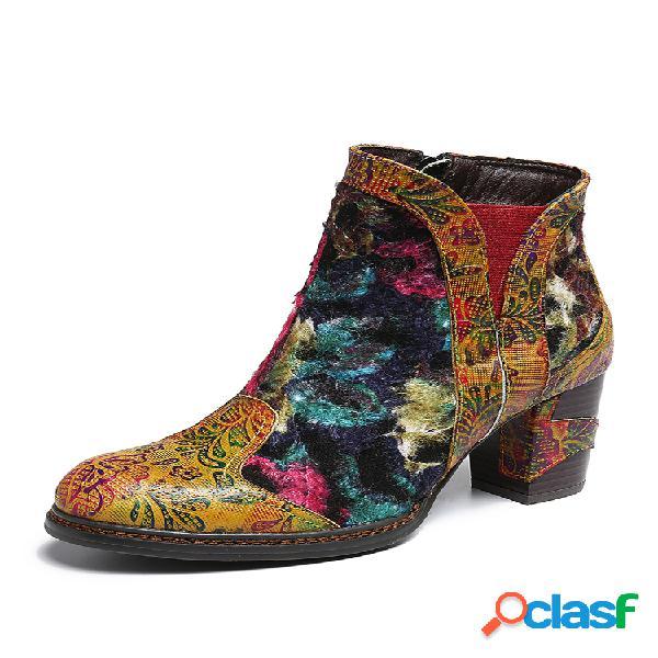 Socofy mulheres retro couro genuíno botas curtas com costura salto alto e zíper
