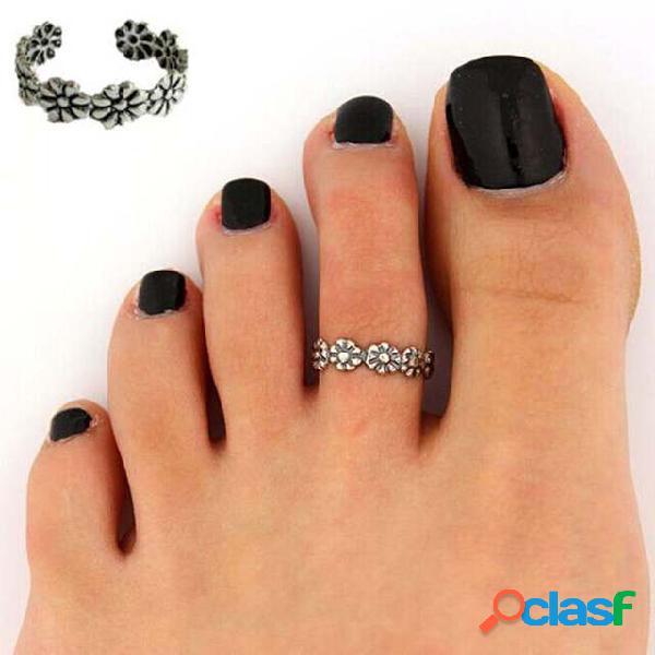 Anel vintage entalhado em flor para pés anéis de prata com abertura ajustável para os dedos do pé joias étnicas