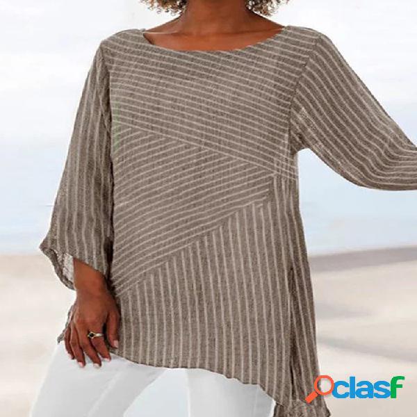 Blusa de manga comprida com costura listrada irregular bainha
