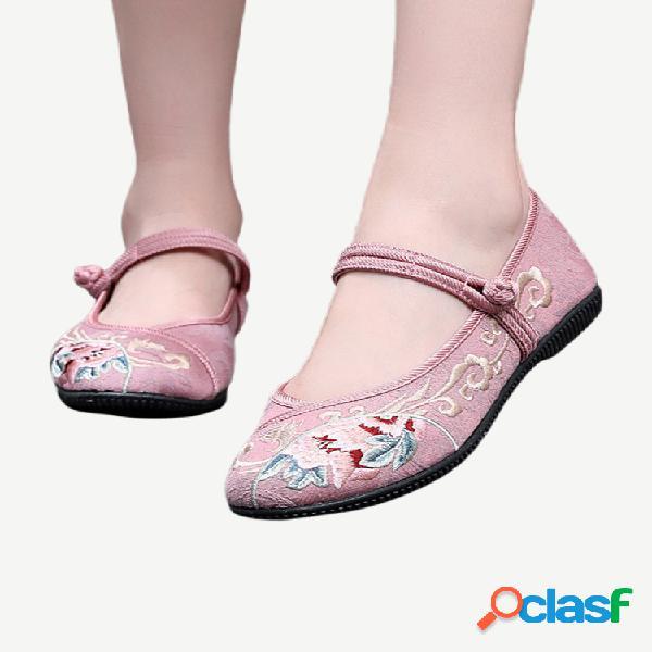 Mulheres casual folkways flores sapatos bordados de pano
