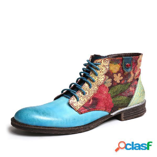 Socofy aquarela flor couro genuíno zíper de emenda botas curtas planas