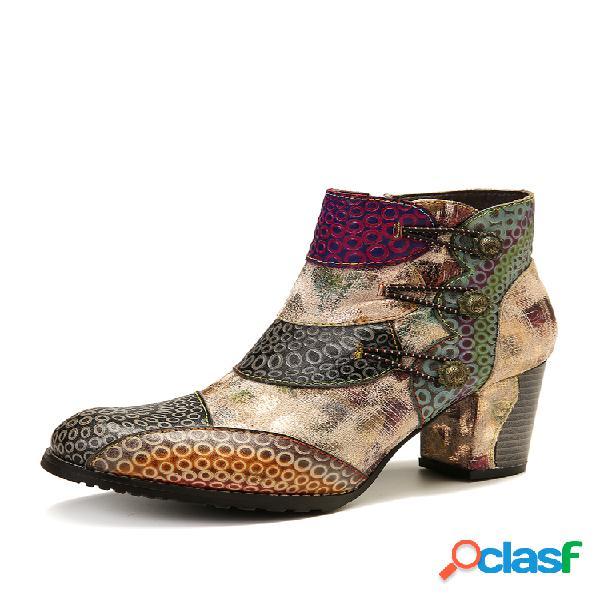 Socofy em relevo couro genuíno botas de tornozelo de salto alto com zíper com fivela retro