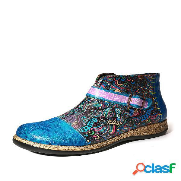 Socofy folkways padrão couro genuíno botas de tornozelo achatadas e confortáveis de emenda