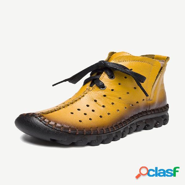 Couro genuíno botas de tornozelo oco resistentes ao deslizamento