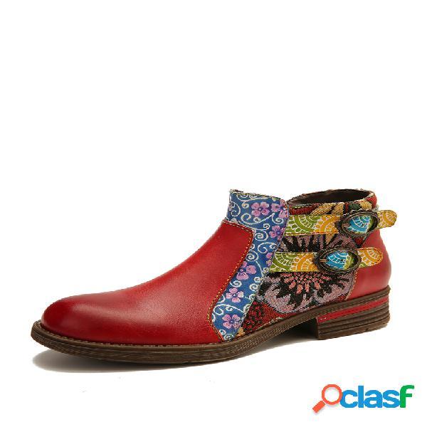 Socofy couro genuíno botas de tornozelo planas com zíper retro de emenda
