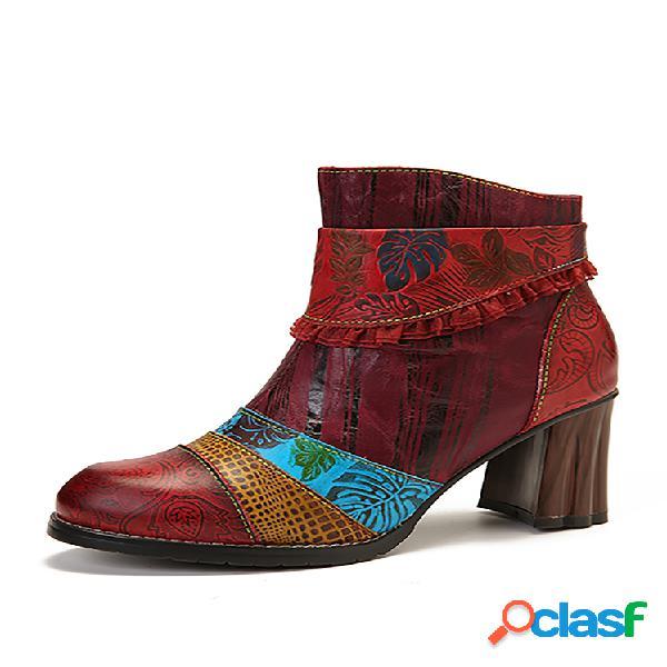 Socofy em relevo folha padrão couro genuíno botas de tornozelo com zíper de salto alto