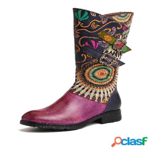 Socofy folkways padrão fivela de metal couro genuíno botas rasteiras de panturrilha média