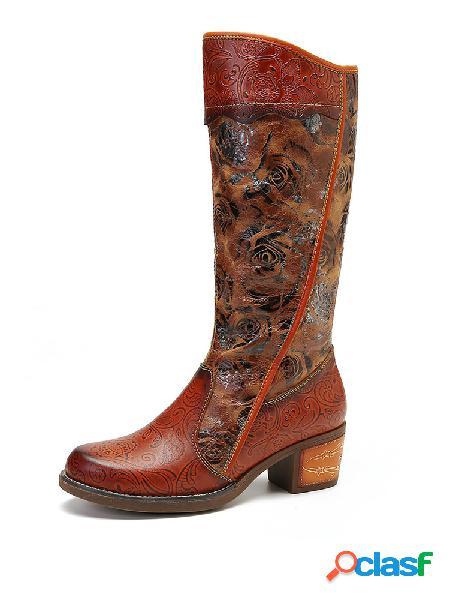 Socofy painted rose embossed couro genuíno botas longas com zíper de salto baixo e costura