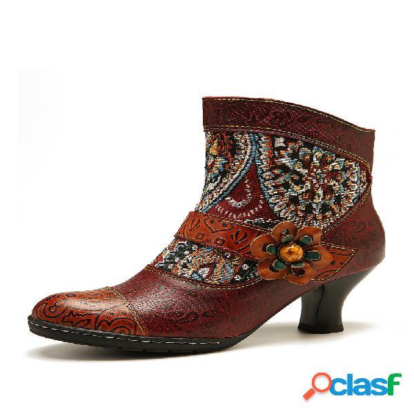 Socofy retro folkways padrão embossed couro genuíno botas de costura de salto baixo com costura