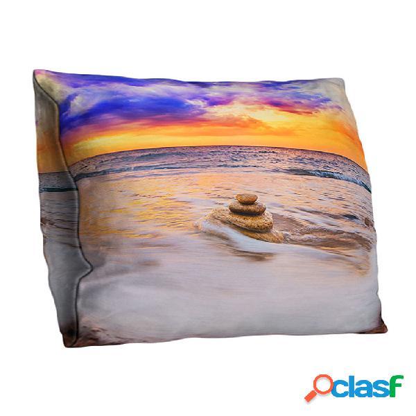 3d double-sided ocean praia fronhas decoradas com arte impressa ao pôr do sol sofá doméstico capa de almofada para carro de escritório