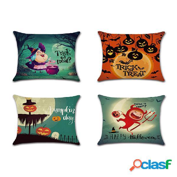 Abóbora do festival de halloween dos desenhos animados padrão capa de almofada de linho sofá doméstico office soft fronhas