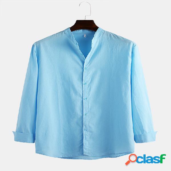 Linho de algodão masculino respirável manga comprida slim fit simples camisas casuais
