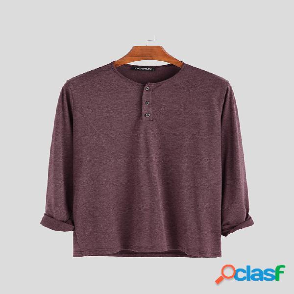 Masculino estilo breve cor sólida respirável casual manga comprida camisas henley