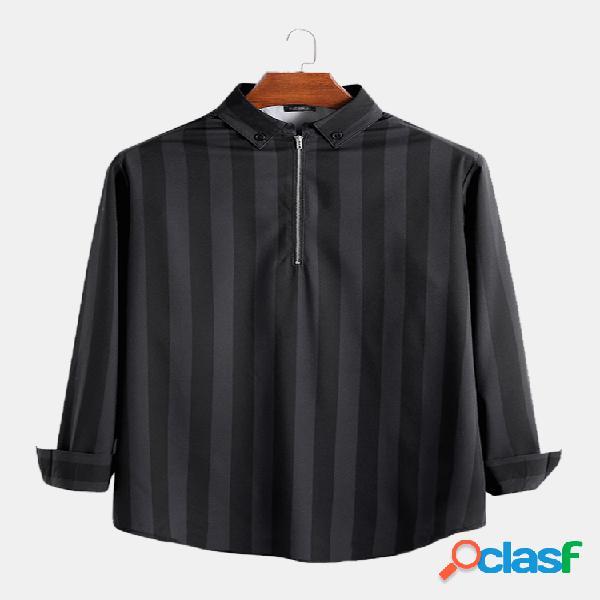Moda masculina listrada manga comprida solta fit half zipper casual camisas