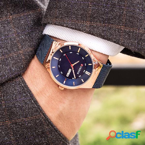 Relógio de aço inoxidável dos homens de luxo trendy business casual week date display quartz watch