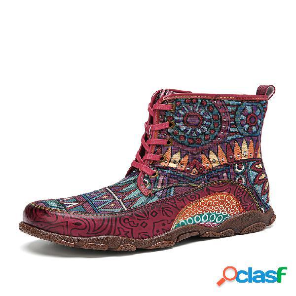 Socofy bohemian style retro big head soft couro genuíno botas de costura de costura